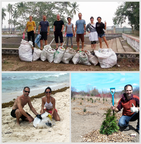 a collage of Wesley and Stefani at a tree-planting event, and at waste collection events that they organized in India and Mexico