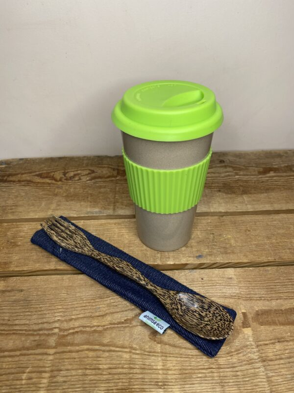 Our on-the-go eco bundle 1 includes a rice husk travel mug, reclaimed coconut wood spork, and upcycled demin sleeve